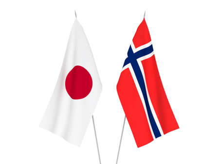 National fabric flags of Norway and Japan isolated on white background. 3d rendering illustration. Reklamní fotografie