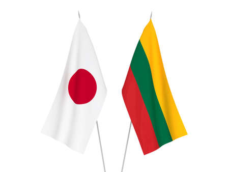 National fabric flags of Lithuania and Japan isolated on white background. 3d rendering illustration. Reklamní fotografie