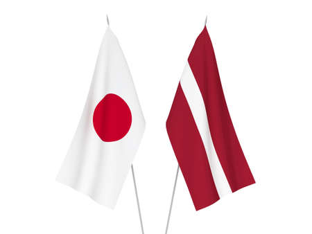 National fabric flags of Latvia and Japan isolated on white background. 3d rendering illustration.