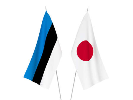 National fabric flags of Japan and Estonia isolated on white background. 3d rendering illustration.
