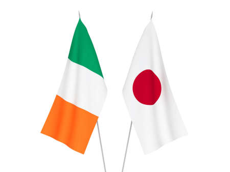 National fabric flags of Japan and Ireland isolated on white background. 3d rendering illustration. Reklamní fotografie