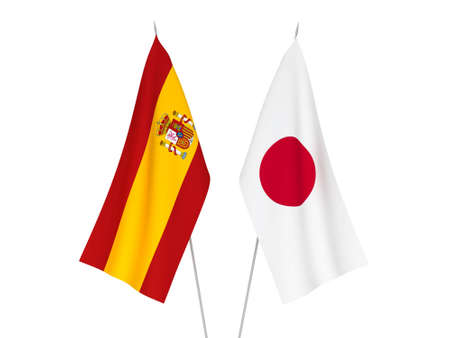 National fabric flags of Japan and Spain isolated on white background. 3d rendering illustration.