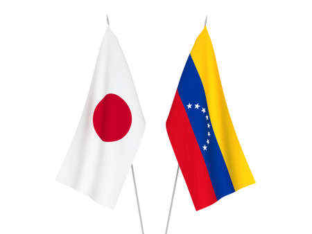 National fabric flags of Venezuela and Japan isolated on white background. 3d rendering illustration.