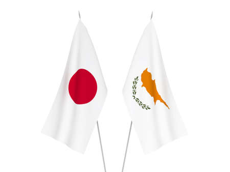 National fabric flags of Cyprus and Japan isolated on white background. 3d rendering illustration.