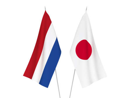 National fabric flags of Japan and Netherlands isolated on white background. 3d rendering illustration. Reklamní fotografie