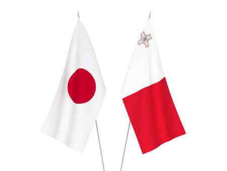 National fabric flags of Malta and Japan isolated on white background. 3d rendering illustration.