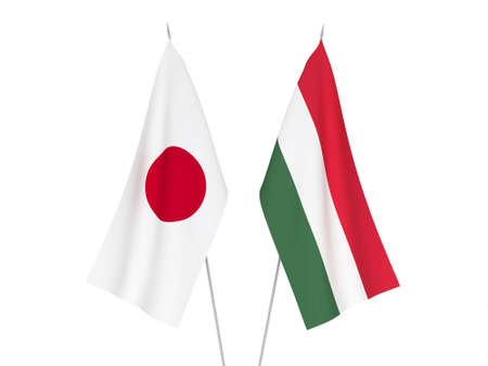 National fabric flags of Japan and Hungary isolated on white background. 3d rendering illustration.