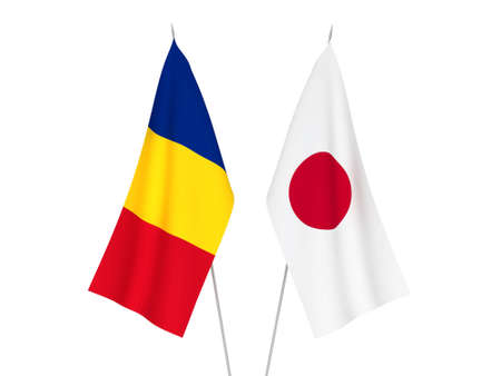 National fabric flags of Japan and Romania isolated on white background. 3d rendering illustration.