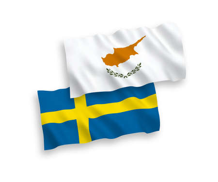 National vector fabric wave flags of Cyprus and Sweden isolated on white background. 1 to 2 proportion.