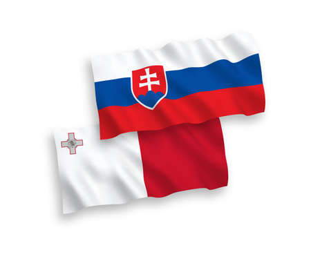 National vector fabric wave flags of Malta and Slovakia isolated on white background. 1 to 2 proportion. Çizim