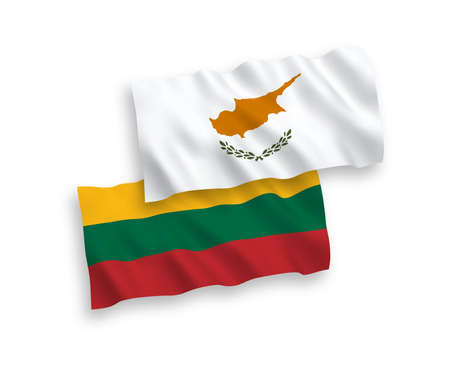 National vector fabric wave flags of Lithuania and Cyprus isolated on white background. 1 to 2 proportion.