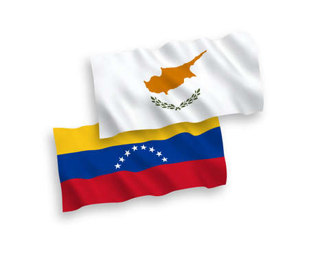 National vector fabric wave flags of Venezuela and Cyprus isolated on white background. 1 to 2 proportion.