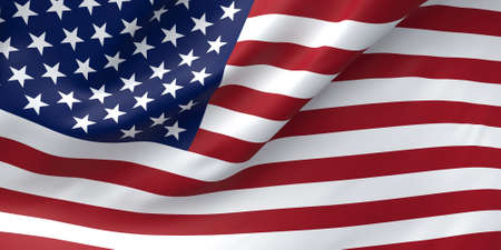 United States Flag Closeup Illustration. Waving flag of USA