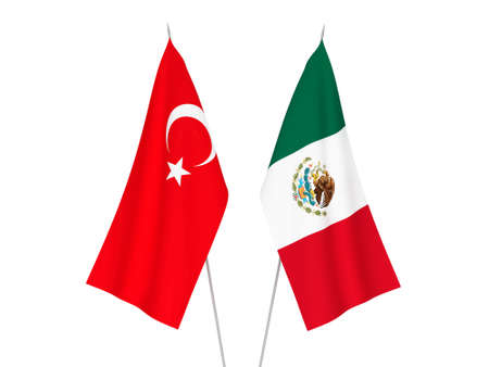 National fabric flags of Mexico and Turkey isolated on white background. 3d rendering illustration.