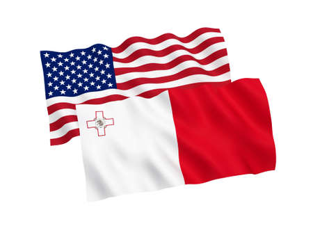 National fabric flags of Malta and America isolated on white background. 3d rendering illustration. Proportion 1:2