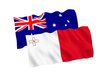 National fabric flags of Australia and Malta isolated on white background. 3d rendering illustration. Proportion 1:2