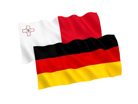 National fabric flags of Germany and Malta isolated on white background. 3d rendering illustration. Proportion 1:2