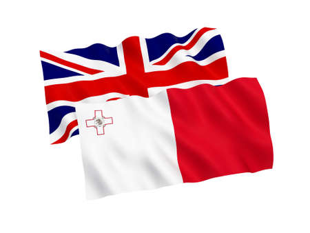 National fabric flags of Malta and Great Britain isolated on white background. 3d rendering illustration. Proportion 1:2