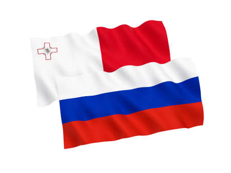 National fabric flags of Russia and Malta isolated on white background. 3d rendering illustration. Proportion 1:2 스톡 콘텐츠