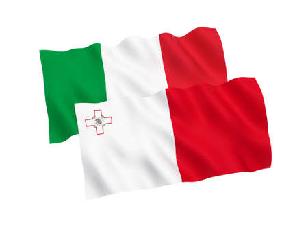National fabric flags of Italy and Malta isolated on white background. 3d rendering illustration. Proportion 1:2