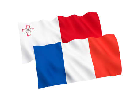 National fabric flags of France and Malta isolated on white background. 3d rendering illustration. Proportion 1:2 스톡 콘텐츠