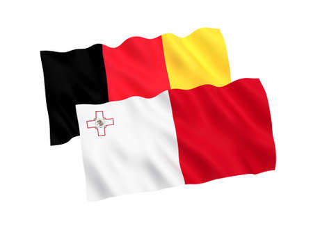 National fabric flags of Belgium and Malta isolated on white background. 3d rendering illustration. Proportion 1:2 스톡 콘텐츠