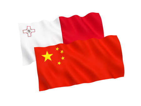 National fabric flags of Malta and China isolated on white background. 3d rendering illustration. Proportion 1:2