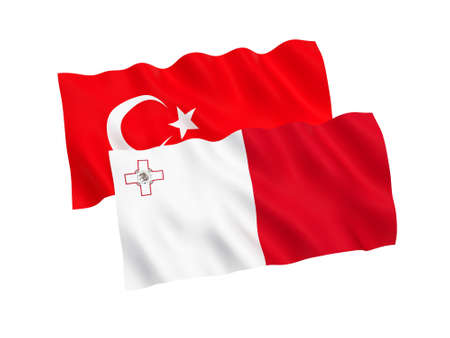 National fabric flags of Turkey and Malta isolated on white background. 3d rendering illustration. Proportion 1:2