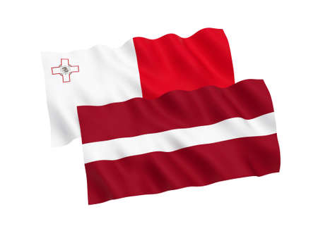 National fabric flags of Malta and Latvia isolated on white background. 3d rendering illustration. Proportion 1:2