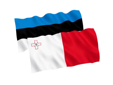 National fabric flags of Estonia and Malta isolated on white background. 3d rendering illustration. Proportion 1:2