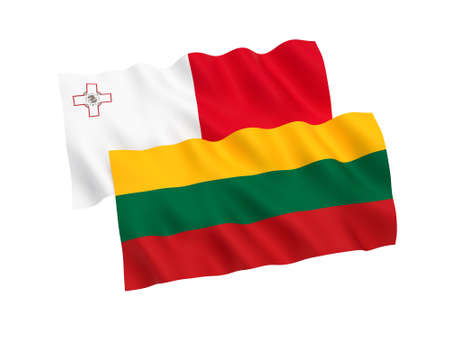National fabric flags of Malta and Lithuania isolated on white background. 3d rendering illustration. Proportion 1:2