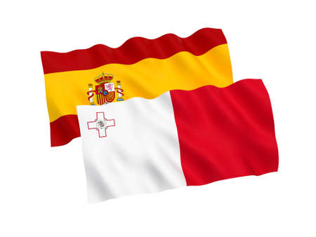 National fabric flags of Malta and Spain isolated on white background. 3d rendering illustration. Proportion 1:2 스톡 콘텐츠