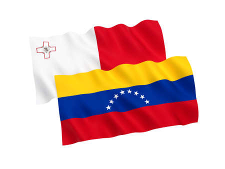 National fabric flags of Venezuela and Malta isolated on white background. 3d rendering illustration. Proportion 1:2 스톡 콘텐츠