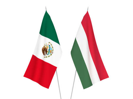 National fabric flags of Mexico and Hungary isolated on white background. 3d rendering illustration.