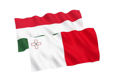 National fabric flags of Hungary and Malta isolated on white background. 3d rendering illustration. Proportion 1:2 스톡 콘텐츠