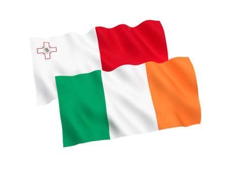 National fabric flags of Malta and Ireland isolated on white background. 3d rendering illustration. Proportion 1:2
