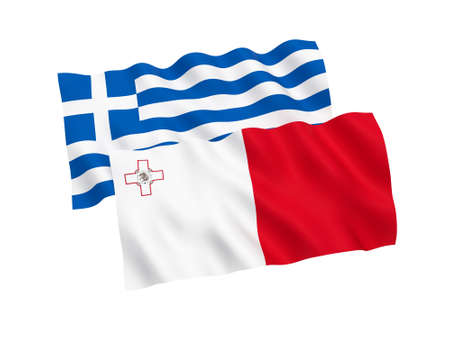 National fabric flags of Greece and Malta isolated on white background. 3d rendering illustration. Proportion 1:2 스톡 콘텐츠