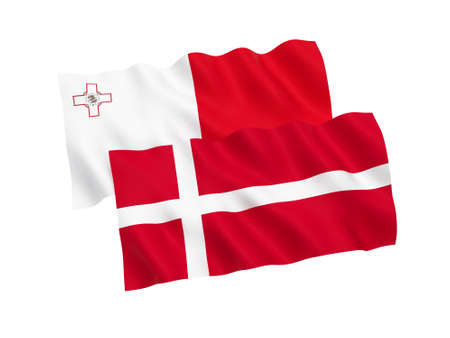 National fabric flags of Malta and Denmark isolated on white background. 3d rendering illustration. Proportion 1:2