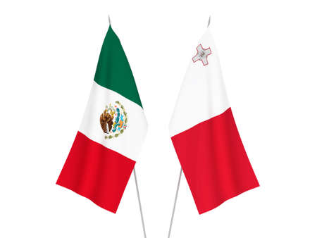 National fabric flags of Malta and Mexico isolated on white background. 3d rendering illustration. 스톡 콘텐츠