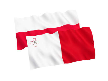 National fabric flags of Poland and Malta isolated on white background. 3d rendering illustration. Proportion 1:2