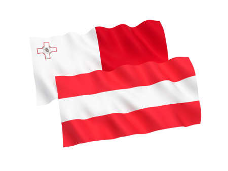 National fabric flags of Austria and Malta isolated on white background. 3d rendering illustration. Proportion 1:2