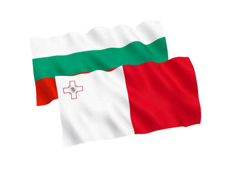 National fabric flags of Bulgaria and Malta isolated on white background. 3d rendering illustration. Proportion 1:2 스톡 콘텐츠 - 127841303