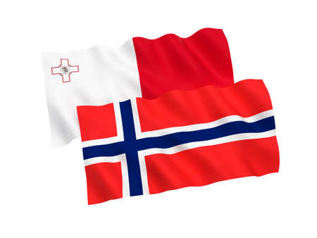 National fabric flags of Norway and Malta isolated on white background. 3d rendering illustration. Proportion 1:2