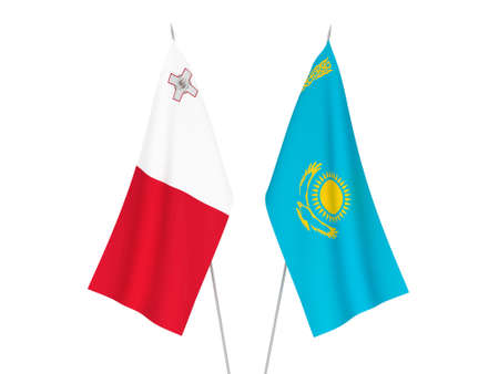 National fabric flags of Kazakhstan and Malta isolated on white background. 3d rendering illustration.