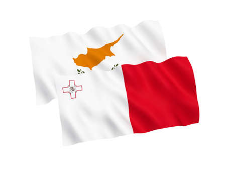 National fabric flags of Malta and Cyprus isolated on white background. 3d rendering illustration. Proportion 1:2 스톡 콘텐츠