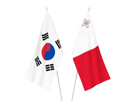 National fabric flags of Malta and South Korea isolated on white background. 3d rendering illustration.
