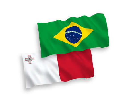 National vector fabric wave flags of Malta and Brazil isolated on white background. 1 to 2 proportion. 일러스트