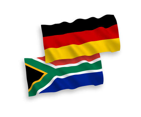 National vector fabric wave flags of Germany and Republic of South Africa isolated on white background. 1 to 2 proportion.