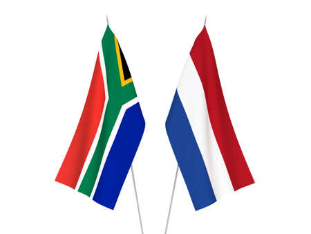 National fabric flags of Netherlands and Republic of South Africa isolated on white background. 3d rendering illustration.