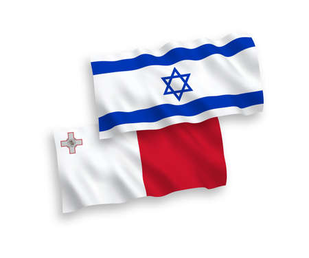 National vector fabric wave flags of Malta and Israel isolated on white background. 1 to 2 proportion.